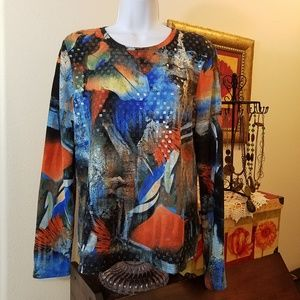 Erin London Multi colored Top size Large
